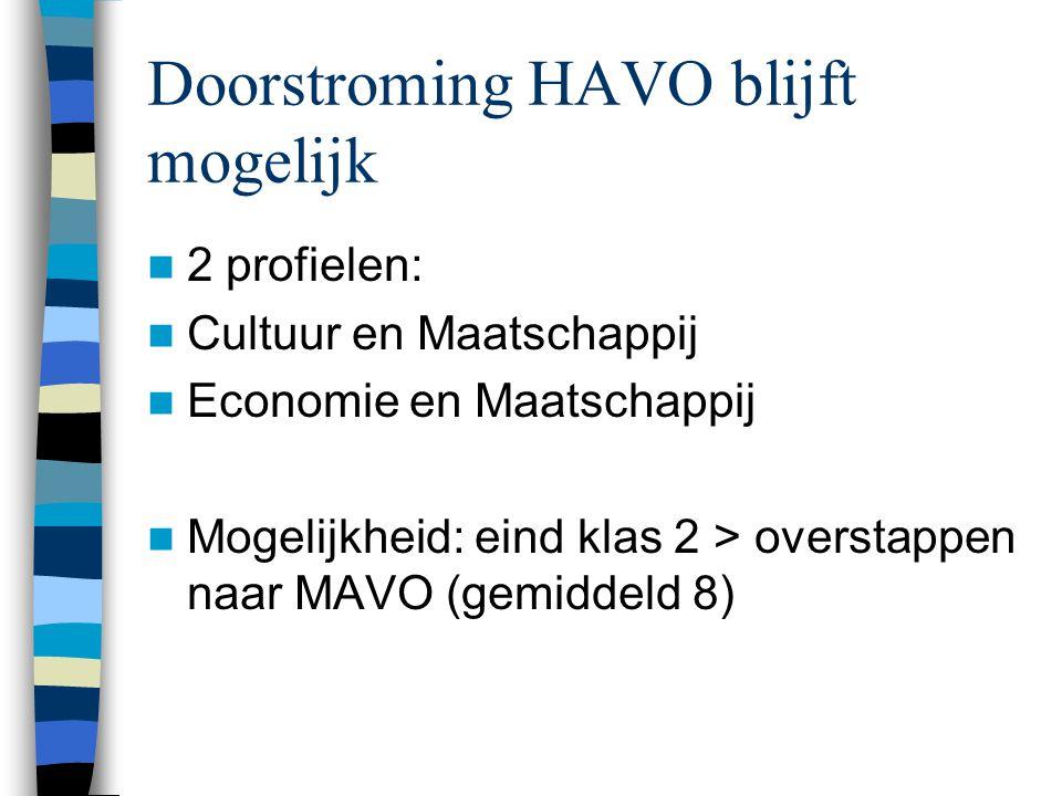Doorstroming HAVO blijft mogelijk 2 profielen: Cultuur en Maatschappij Economie en Maatschappij Mogelijkheid: eind klas 2 > overstappen naar MAVO (gemiddeld 8)