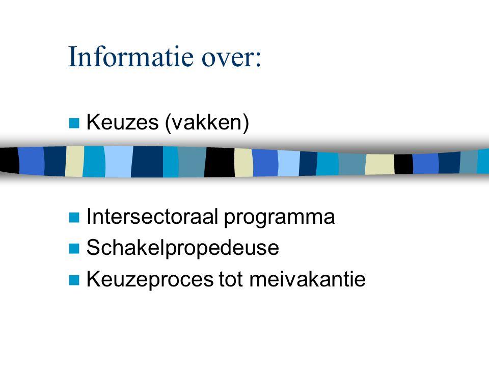 Informatie over: Keuzes (vakken) Intersectoraal programma Schakelpropedeuse Keuzeproces tot meivakantie