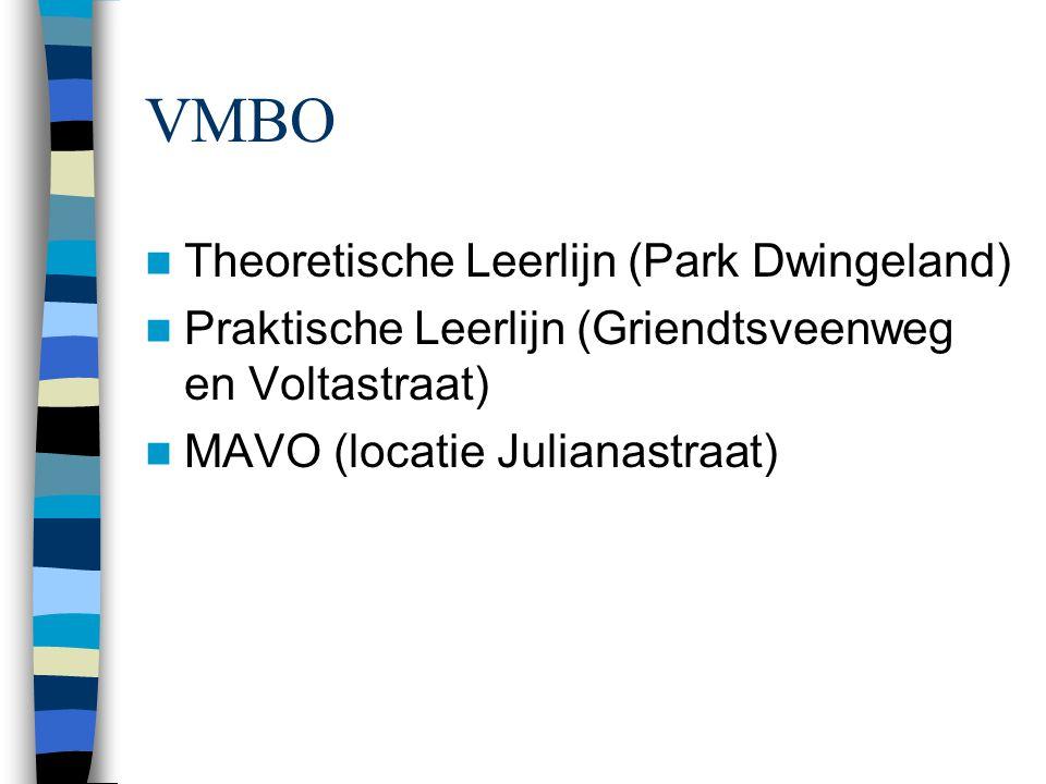 VMBO Theoretische Leerlijn (Park Dwingeland) Praktische Leerlijn (Griendtsveenweg en Voltastraat) MAVO (locatie Julianastraat)