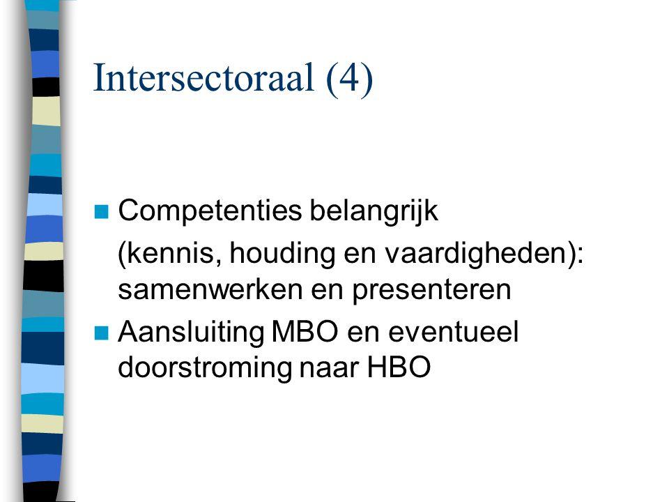 Intersectoraal (4) Competenties belangrijk (kennis, houding en vaardigheden): samenwerken en presenteren Aansluiting MBO en eventueel doorstroming naar HBO