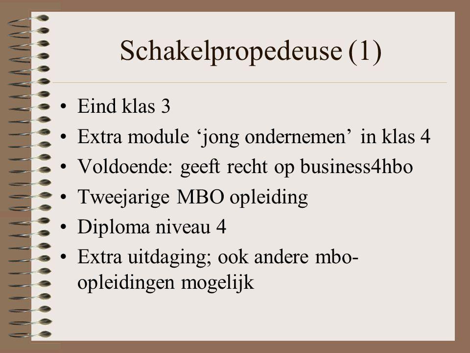 Schakelpropedeuse (1) Eind klas 3 Extra module 'jong ondernemen' in klas 4 Voldoende: geeft recht op business4hbo Tweejarige MBO opleiding Diploma niveau 4 Extra uitdaging; ook andere mbo- opleidingen mogelijk