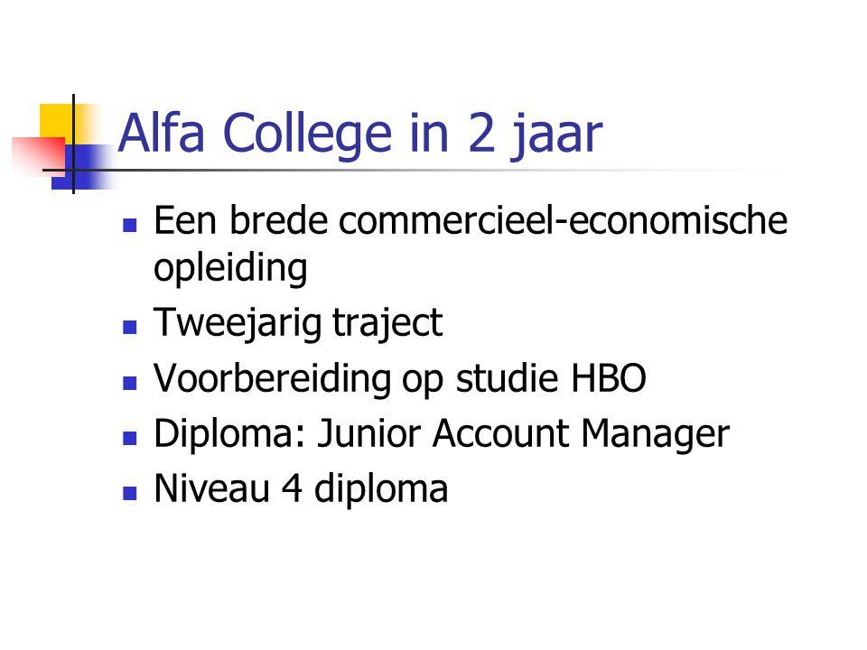 Alfa College in 2 jaar Een brede commercieel-economische opleiding Tweejarig traject Voorbereiding op studie HBO Diploma: Junior Account Manager Niveau 4 diploma