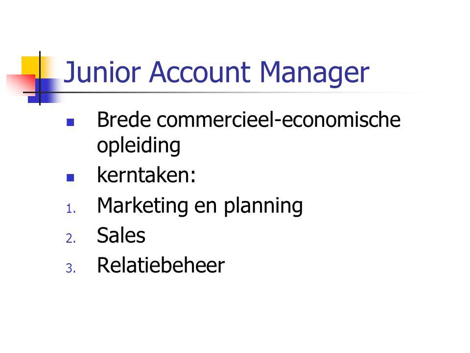 Junior Account Manager Brede commercieel-economische opleiding kerntaken: 1.