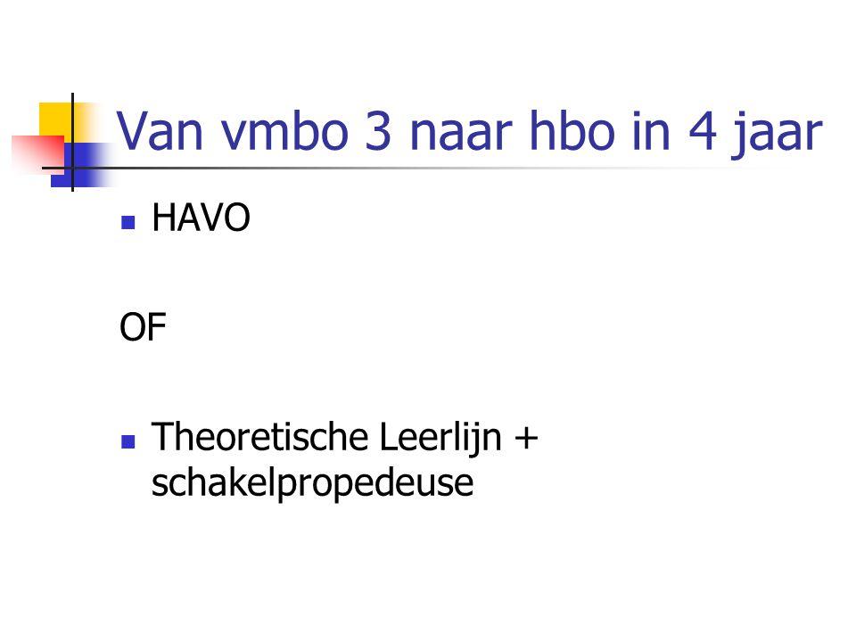 Van vmbo 3 naar hbo in 4 jaar HAVO OF Theoretische Leerlijn + schakelpropedeuse