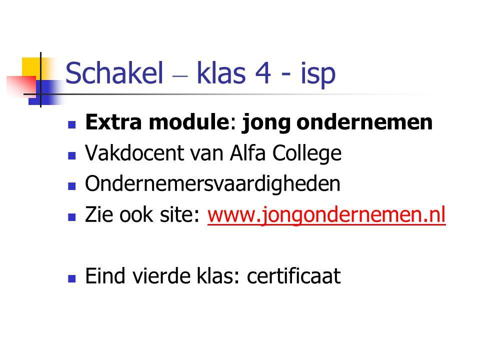 Schakel – klas 4 - isp Extra module: jong ondernemen Vakdocent van Alfa College Ondernemersvaardigheden Zie ook site: www.jongondernemen.nlwww.jongondernemen.nl Eind vierde klas: certificaat