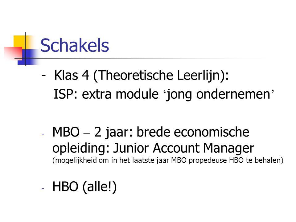 Schakels - Klas 4 (Theoretische Leerlijn): ISP: extra module ' jong ondernemen ' - MBO – 2 jaar: brede economische opleiding: Junior Account Manager (mogelijkheid om in het laatste jaar MBO propedeuse HBO te behalen) - HBO (alle!)