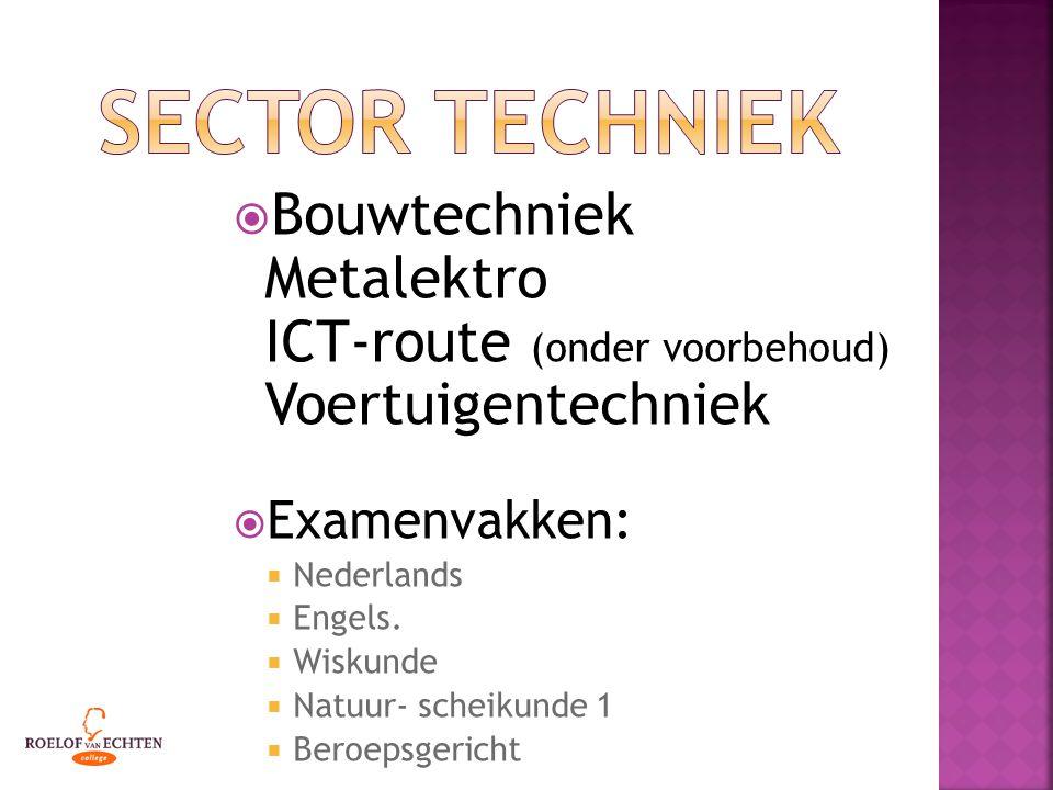  Bouwtechniek Metalektro ICT-route (onder voorbehoud) Voertuigentechniek  Examenvakken:  Nederlands  Engels.  Wiskunde  Natuur- scheikunde 1  B
