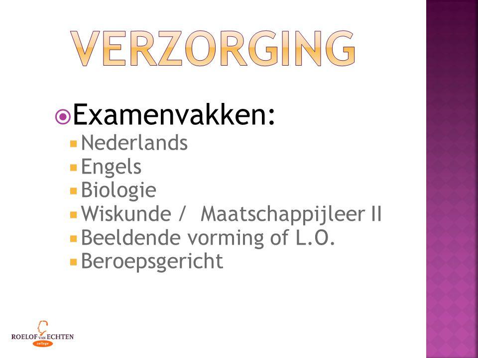  Examenvakken:  Nederlands  Engels  Biologie  Wiskunde / Maatschappijleer II  Beeldende vorming of L.O.  Beroepsgericht