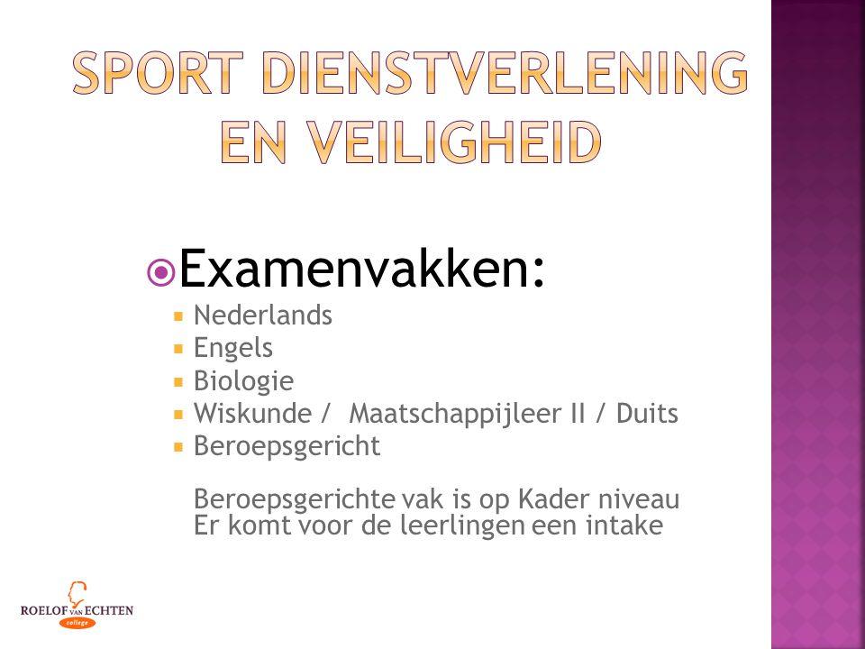  Examenvakken:  Nederlands  Engels  Biologie  Wiskunde / Maatschappijleer II / Duits  Beroepsgericht Beroepsgerichte vak is op Kader niveau Er komt voor de leerlingen een intake