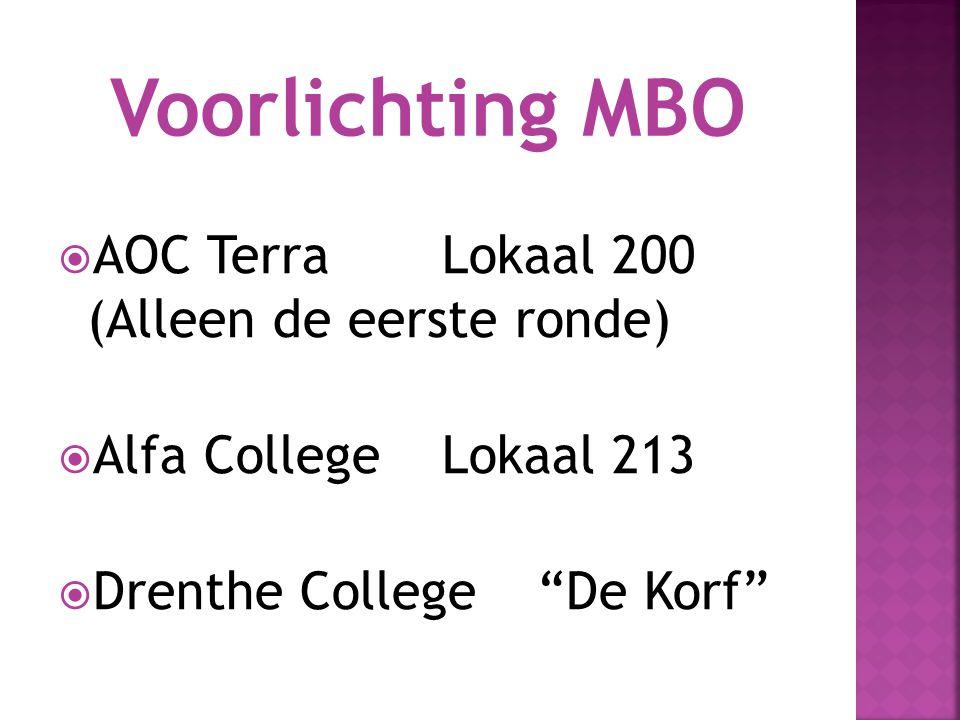  AOC TerraLokaal 200 (Alleen de eerste ronde)  Alfa CollegeLokaal 213  Drenthe College De Korf