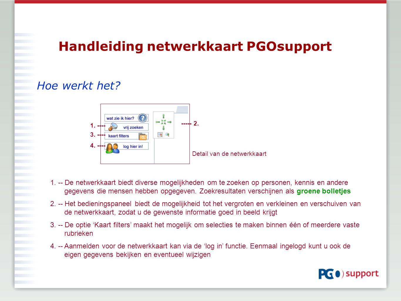 Handleiding netwerkkaart PGOsupport Hoe werkt het? 1. -- De netwerkkaart biedt diverse mogelijkheden om te zoeken op personen, kennis en andere gegeve