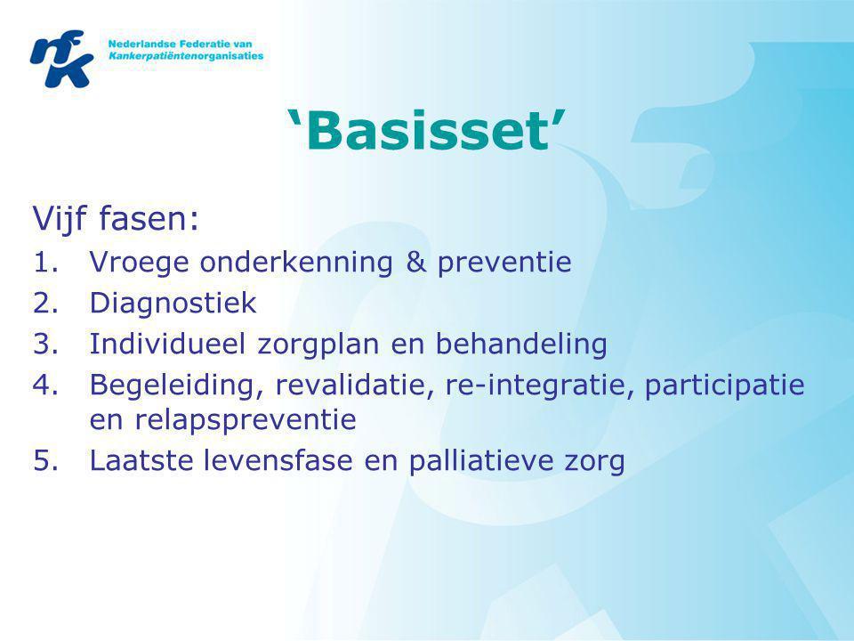 'Basisset' Vijf fasen: 1.Vroege onderkenning & preventie 2.Diagnostiek 3.Individueel zorgplan en behandeling 4.Begeleiding, revalidatie, re-integratie, participatie en relapspreventie 5.Laatste levensfase en palliatieve zorg