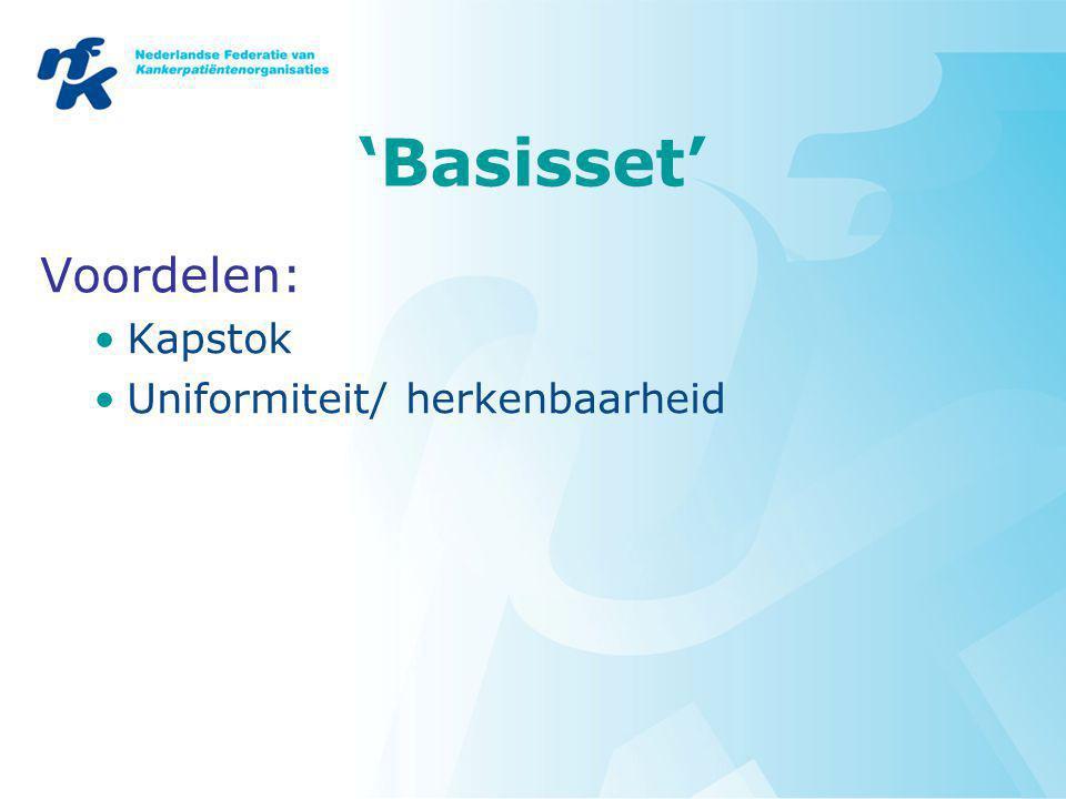 'Basisset' Voordelen: Kapstok Uniformiteit/ herkenbaarheid