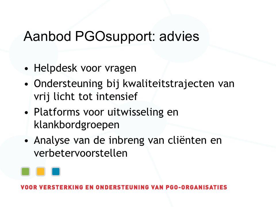 Aanbod PGOsupport: advies Helpdesk voor vragen Ondersteuning bij kwaliteitstrajecten van vrij licht tot intensief Platforms voor uitwisseling en klankbordgroepen Analyse van de inbreng van cliënten en verbetervoorstellen