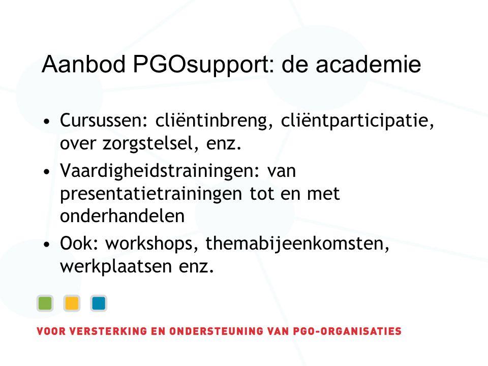 Aanbod PGOsupport: de academie Cursussen: cliëntinbreng, cliëntparticipatie, over zorgstelsel, enz.