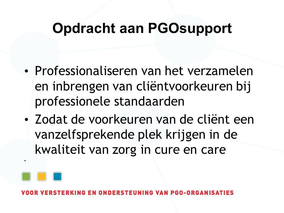 Opdracht aan PGOsupport Professionaliseren van het verzamelen en inbrengen van cliëntvoorkeuren bij professionele standaarden Zodat de voorkeuren van de cliënt een vanzelfsprekende plek krijgen in de kwaliteit van zorg in cure en care
