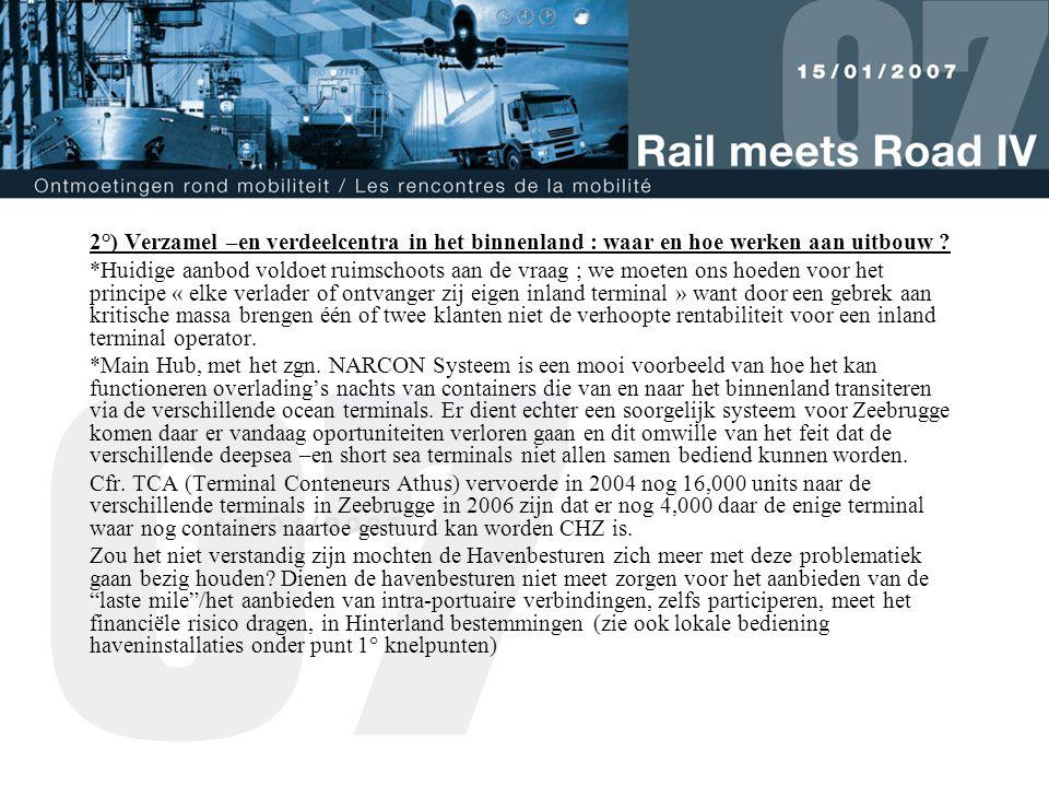 3°) Innoverende oplossingen .* Zie de rol van 3 modale inland terminals nog toenemen.
