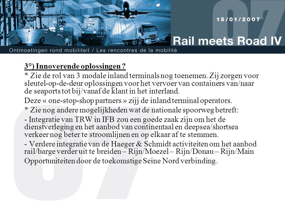 3°) Innoverende oplossingen . * Zie de rol van 3 modale inland terminals nog toenemen.