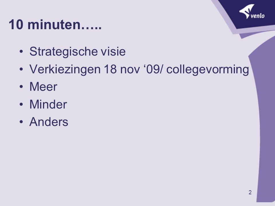 2 10 minuten….. Strategische visie Verkiezingen 18 nov '09/ collegevorming Meer Minder Anders