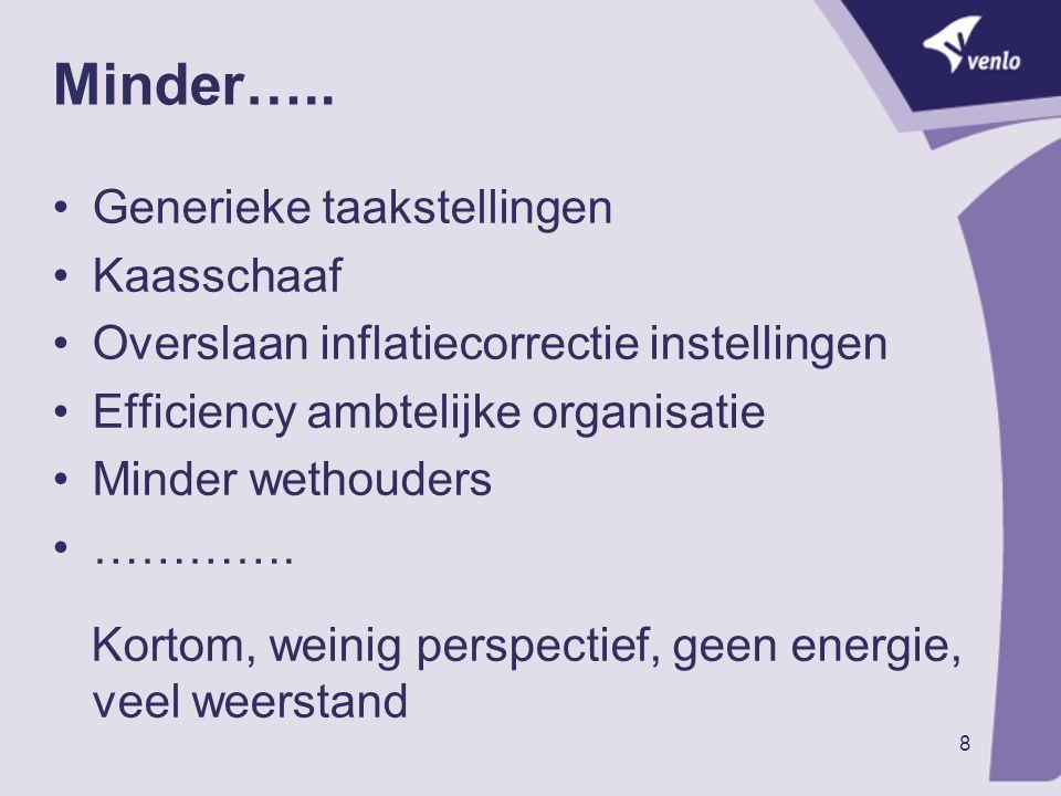 9 Waarneming…… ' Venlo 2010' is niet 'Venlo 1975' Lokale overheid heeft veel zorgen op zich genomen Maatschappij is veranderd Individueler Internet ……… Venlonaren zijn veranderd: Welvarender Mobieler Ouder ….