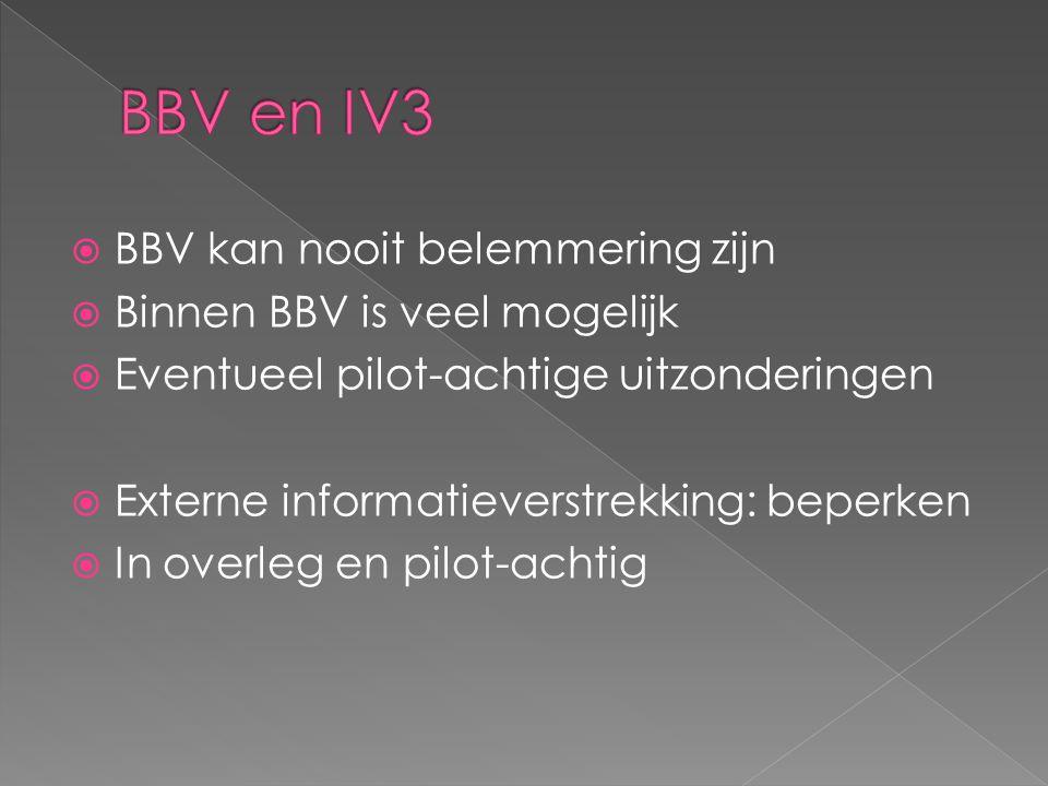  BBV kan nooit belemmering zijn  Binnen BBV is veel mogelijk  Eventueel pilot-achtige uitzonderingen  Externe informatieverstrekking: beperken  In overleg en pilot-achtig
