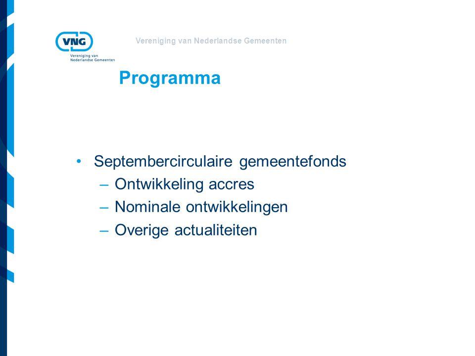 Vereniging van Nederlandse Gemeenten Programma Septembercirculaire gemeentefonds –Ontwikkeling accres –Nominale ontwikkelingen –Overige actualiteiten