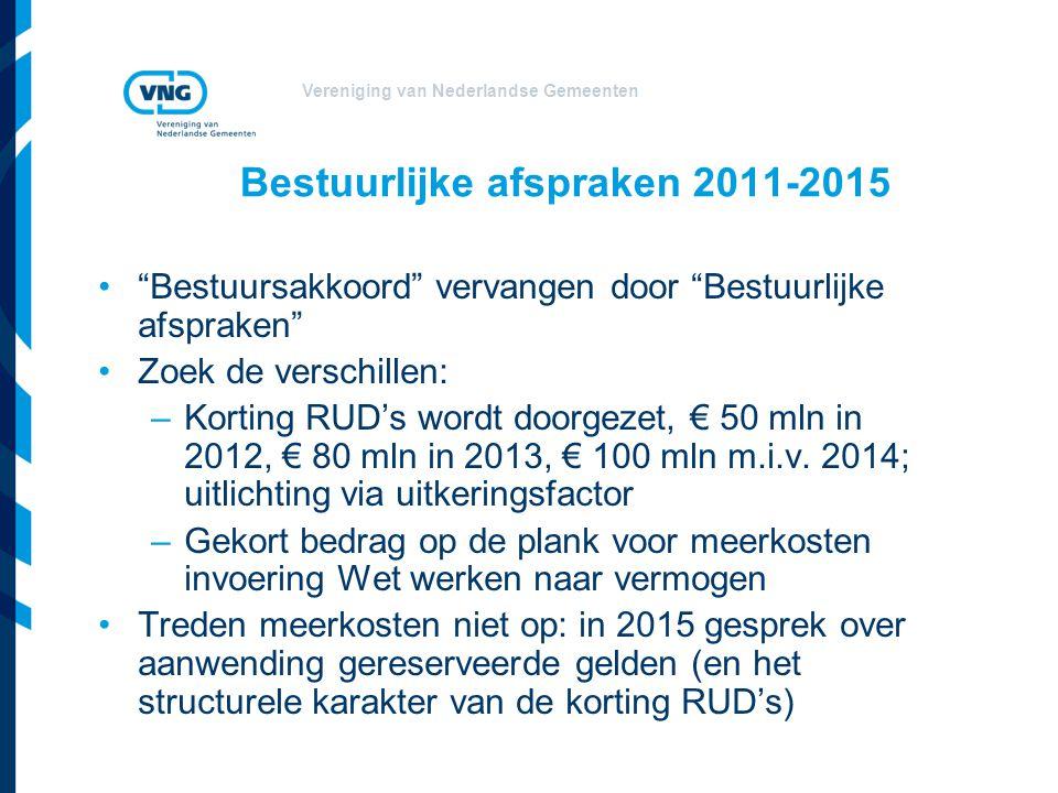 """Vereniging van Nederlandse Gemeenten Bestuurlijke afspraken 2011-2015 """"Bestuursakkoord"""" vervangen door """"Bestuurlijke afspraken"""" Zoek de verschillen: –"""