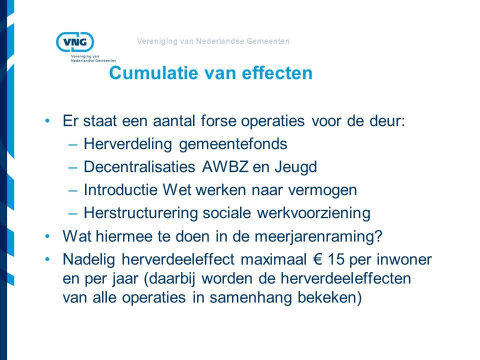 Vereniging van Nederlandse Gemeenten Cumulatie van effecten Er staat een aantal forse operaties voor de deur: –Herverdeling gemeentefonds –Decentralis
