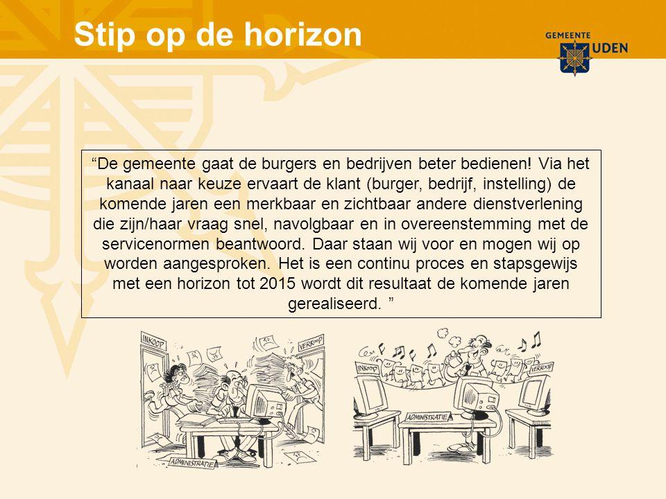 Stip op de horizon De gemeente gaat de burgers en bedrijven beter bedienen.
