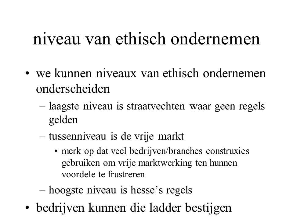 niveau van ethisch ondernemen we kunnen niveaux van ethisch ondernemen onderscheiden –laagste niveau is straatvechten waar geen regels gelden –tussenniveau is de vrije markt merk op dat veel bedrijven/branches construxies gebruiken om vrije marktwerking ten hunnen voordele te frustreren –hoogste niveau is hesse's regels bedrijven kunnen die ladder bestijgen