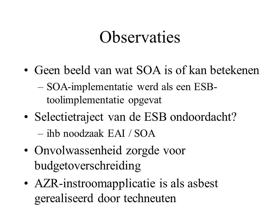 Observaties Geen beeld van wat SOA is of kan betekenen –SOA-implementatie werd als een ESB- toolimplementatie opgevat Selectietraject van de ESB ondoordacht.