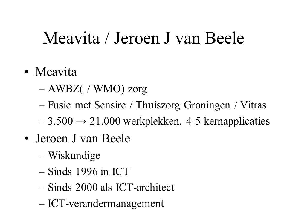 Meavita / Jeroen J van Beele Meavita –AWBZ( / WMO) zorg –Fusie met Sensire / Thuiszorg Groningen / Vitras –3.500 → 21.000 werkplekken, 4-5 kernapplicaties Jeroen J van Beele –Wiskundige –Sinds 1996 in ICT –Sinds 2000 als ICT-architect –ICT-verandermanagement