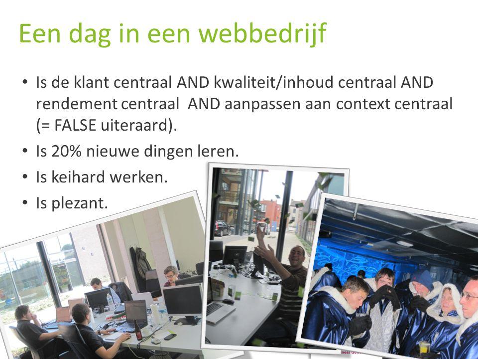 LODESTAR O NLINE E XPERTS Een dag in een webbedrijf Is de klant centraal AND kwaliteit/inhoud centraal AND rendement centraal AND aanpassen aan context centraal (= FALSE uiteraard).