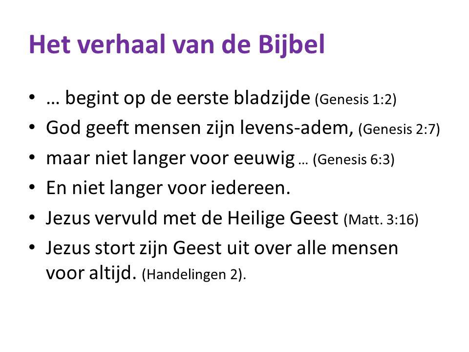 Het verhaal van de Bijbel … begint op de eerste bladzijde (Genesis 1:2) God geeft mensen zijn levens-adem, (Genesis 2:7) maar niet langer voor eeuwig … (Genesis 6:3) En niet langer voor iedereen.