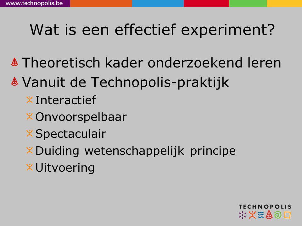 Wat is een effectief experiment? Theoretisch kader onderzoekend leren Vanuit de Technopolis-praktijk Interactief Onvoorspelbaar Spectaculair Duiding w