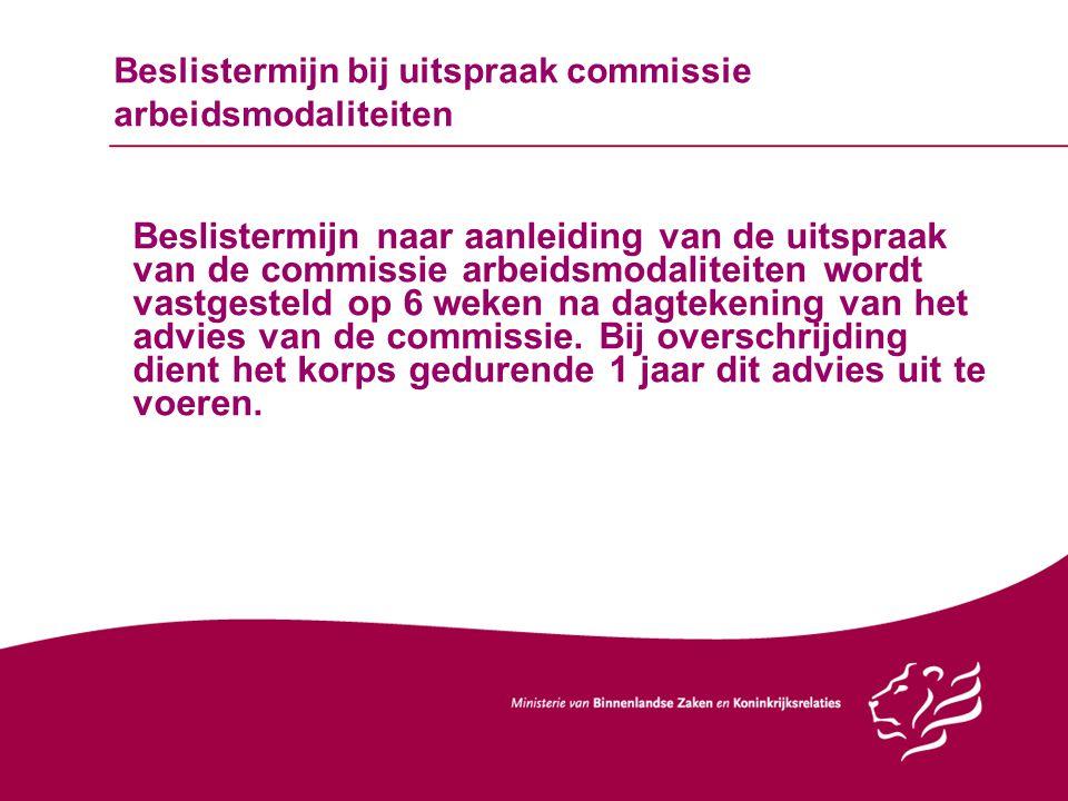 Beslistermijn bij uitspraak commissie arbeidsmodaliteiten Beslistermijn naar aanleiding van de uitspraak van de commissie arbeidsmodaliteiten wordt va