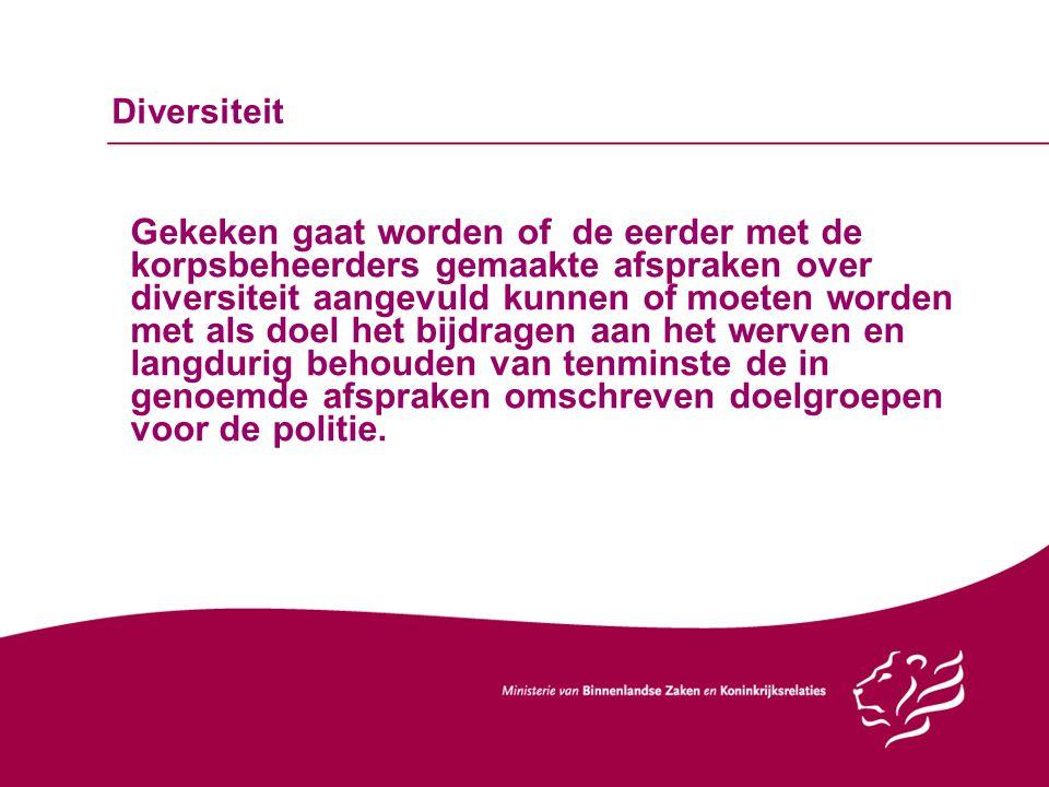 Diversiteit Gekeken gaat worden of de eerder met de korpsbeheerders gemaakte afspraken over diversiteit aangevuld kunnen of moeten worden met als doel