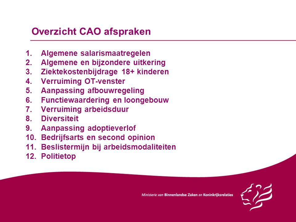 Overzicht CAO afspraken 1.Algemene salarismaatregelen 2.Algemene en bijzondere uitkering 3.Ziektekostenbijdrage 18+ kinderen 4.Verruiming OT-venster 5