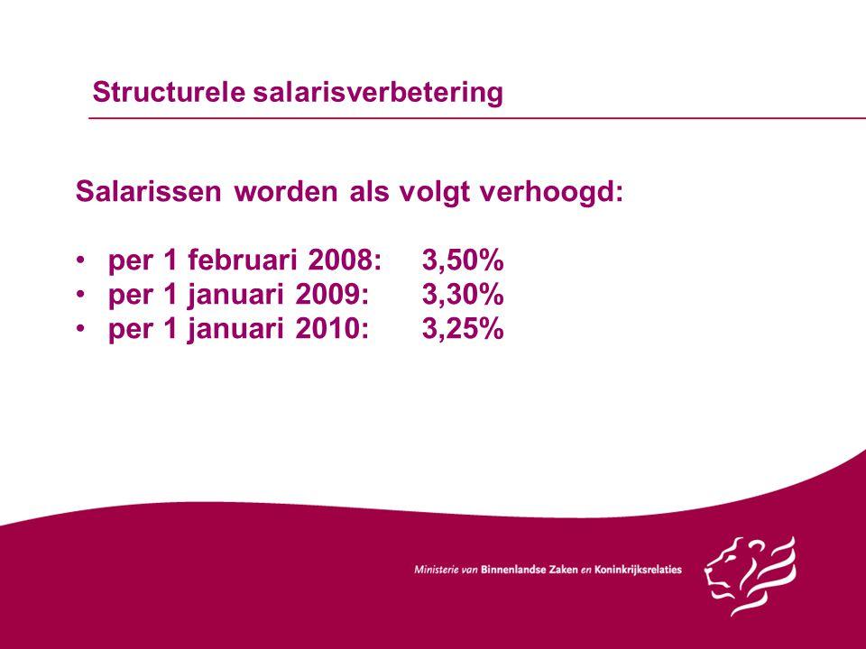 Structurele salarisverbetering Salarissen worden als volgt verhoogd: per 1 februari 2008:3,50% per 1 januari 2009:3,30% per 1 januari 2010:3,25%
