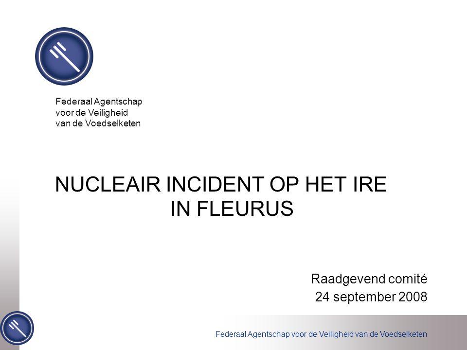 Vrijdag 22 augustus 2008 Incident op IRE Maandag 25 augustus 2008 IRE meldt incident aan het FANC, nl.