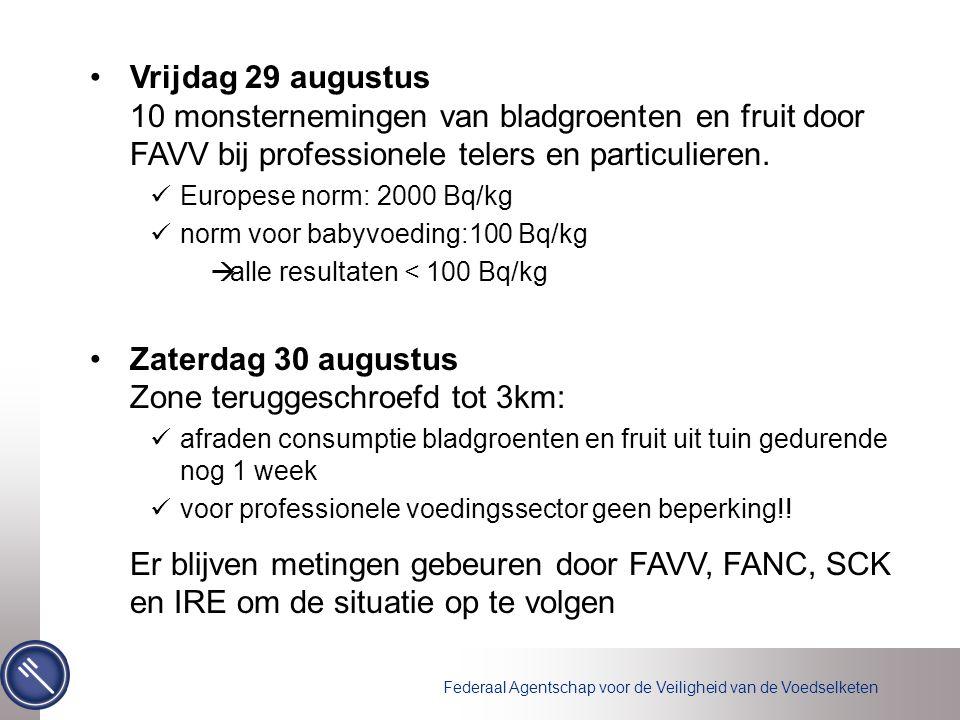 Federaal Agentschap voor de Veiligheid van de Voedselketen Vrijdag 29 augustus 10 monsternemingen van bladgroenten en fruit door FAVV bij professionele telers en particulieren.