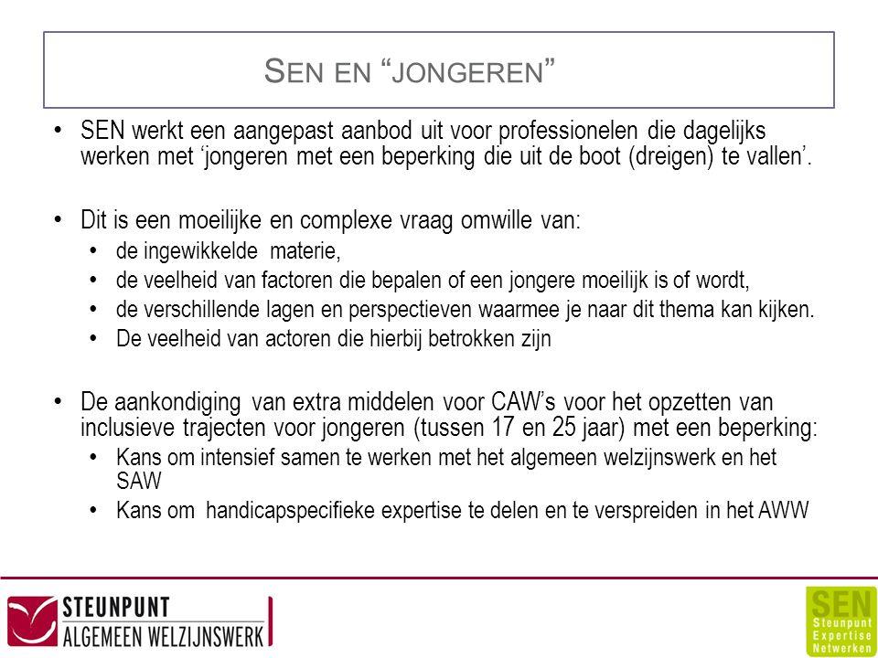 S EN EN JONGEREN SEN werkt een aangepast aanbod uit voor professionelen die dagelijks werken met 'jongeren met een beperking die uit de boot (dreigen) te vallen'.