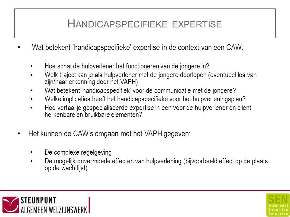 H ANDICAPSPECIFIEKE EXPERTISE Wat betekent 'handicapspecifieke' expertise in de context van een CAW: Hoe schat de hulpverlener het functioneren van de jongere in.