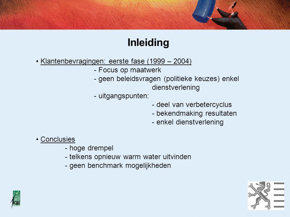 Evolutie naar gemeenschappelijkheid Huidig aanbod - focus op gemeenschappelijke basis - focus op laagdrempeligheid - focus op verbetering van dienstverlening - uitgangspunten idem => co-financieringsmogelijkheden AgO Handleiding klantentevredenheid (maart 2006) Ontwikkeling Tool klantenpeiling