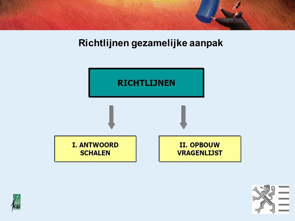Richtlijnen gezamelijke aanpak RICHTLIJNEN I. ANTWOORD SCHALEN II. OPBOUW VRAGENLIJST