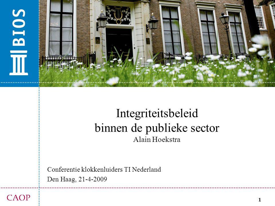 1 Integriteitsbeleid binnen de publieke sector Alain Hoekstra Conferentie klokkenluiders TI Nederland Den Haag, 21-4-2009