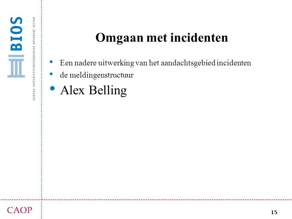 15 Omgaan met incidenten Een nadere uitwerking van het aandachtsgebied incidenten de meldingenstructuur Alex Belling