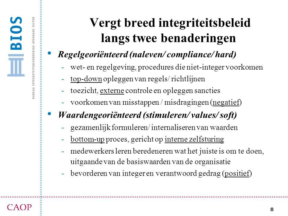 8 Vergt breed integriteitsbeleid langs twee benaderingen Regelgeoriënteerd (naleven/ compliance/ hard) -wet- en regelgeving, procedures die niet-integ