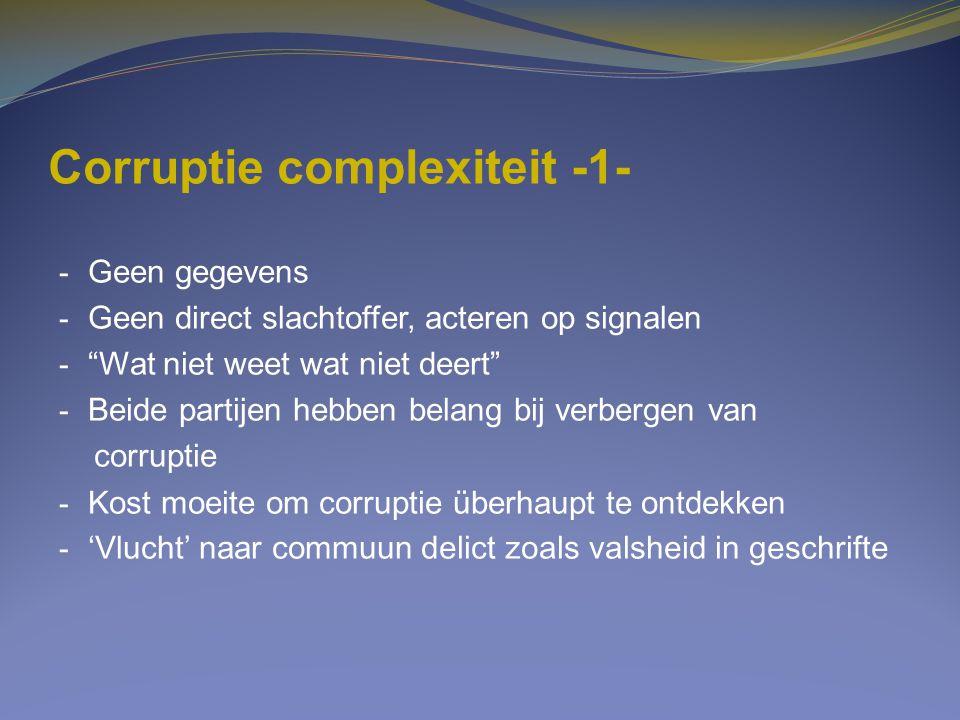 """Corruptie complexiteit -1- - Geen gegevens - Geen direct slachtoffer, acteren op signalen - """"Wat niet weet wat niet deert"""" - Beide partijen hebben bel"""