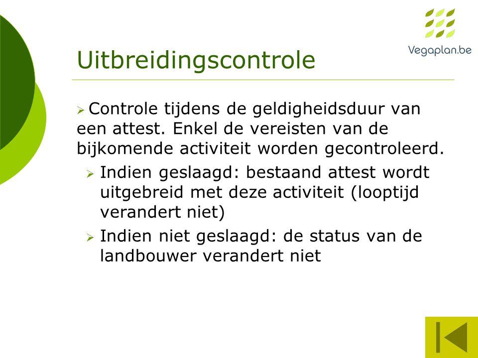 Uitbreidingscontrole  Controle tijdens de geldigheidsduur van een attest.